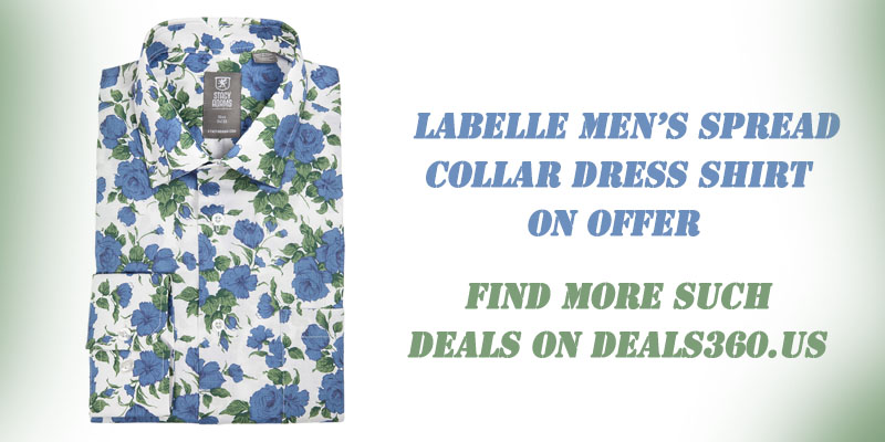 Deals on Labelle Men's Spread Collar Dress Shirt