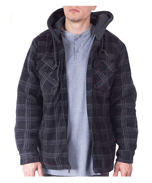 Visive Mens Flannel Hoodie Jackets Fleece Sherpa Lined Shirt Deals