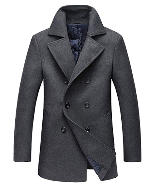 Chouyatou Men's Classic Notched Collar Blend Pea Coat Deals