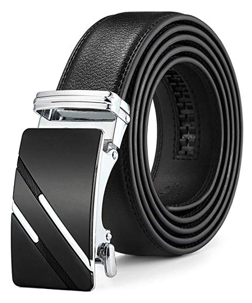 QISHI YUHUA Slide Men's Belt with Genuine Leather Deals