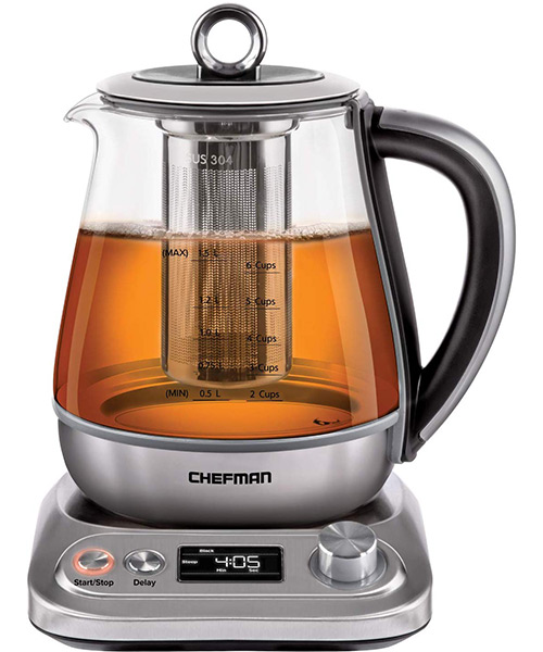 Chefman PerfecTea Programmable Electric Glass Kettle with Temperature Control De