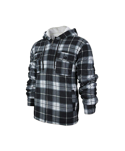 Men's Heavyweight Fleece Lined Plaid Sherpa Hoodie Jacket Deals