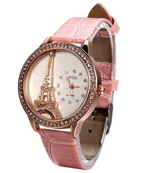 Rhinestone-Accented-Eiffel-Tower-Pink-Leather-Watch Deals