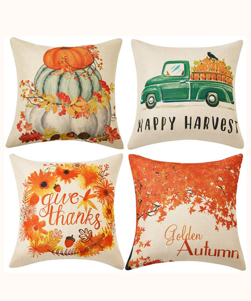 WLNUI Thanksgiving Pillow Covers Cushion Cases for Sofa Couch Home Décor Deals