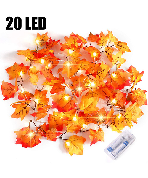Severino Thanksgiving Gift Waterproof Maple Fall Leaf Garland with String lights