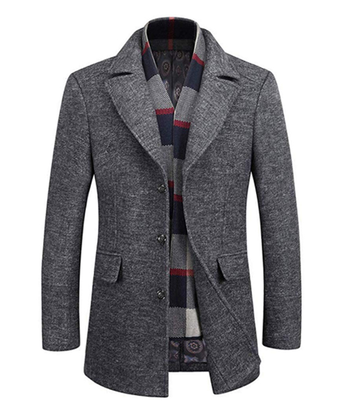 WULFUL Men's Wool Trench Coat with Free Removable Plaid Scarf Deals