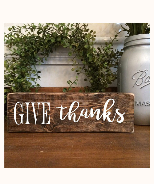 Give Thanks Wooden Farmhouse Small Standing Block Deals
