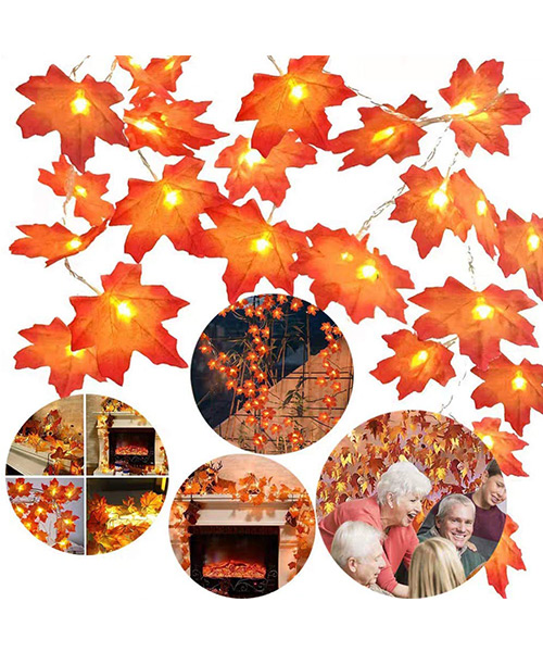 Twinkle Star Thanksgiving Decoration Maple Leaves Battery Operated String Lights