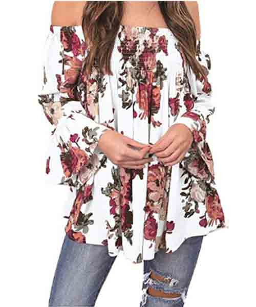 Women-Floral-Print-Off-Shoulder-Tops Deals