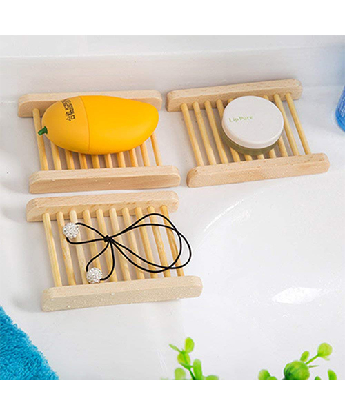 Qsbai Natural Wood Soap Sponge Drain Storage Holder Tray Deals